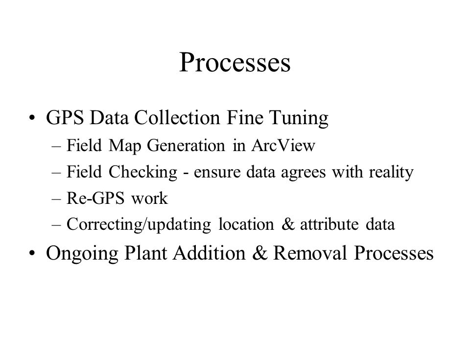 Processes GPS Data Collection Fine Tuning –Field Map Generation in ArcView –Field Checking - ensure data agrees with reality –Re-GPS work –Correcting/updating location & attribute data Ongoing Plant Addition & Removal Processes