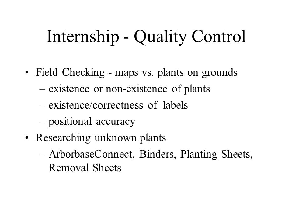 Internship - Quality Control Field Checking - maps vs.