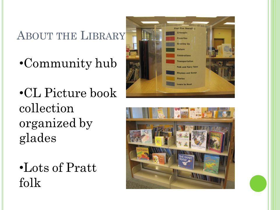 A BOUT THE L IBRARY Community hub CL Picture book collection organized by glades Lots of Pratt folk
