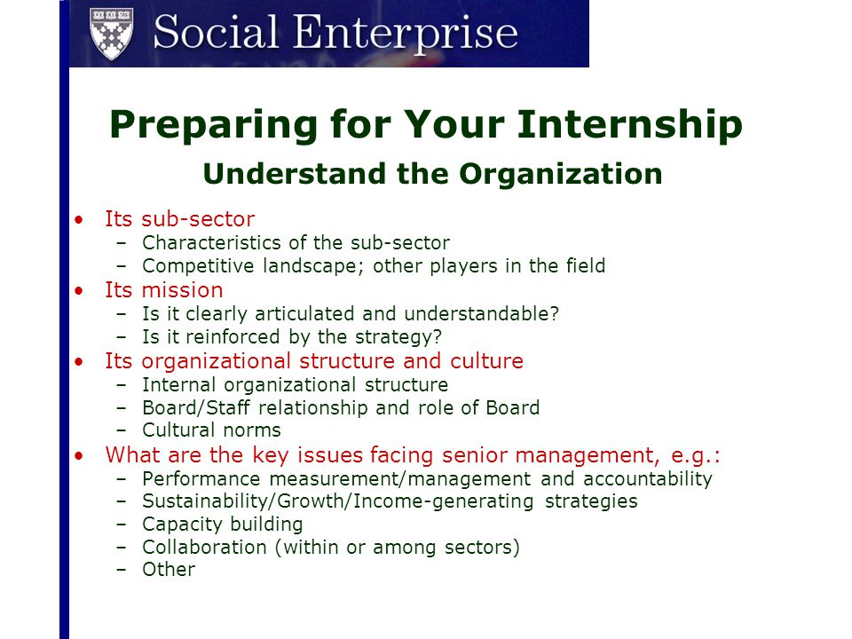 Preparing for Your Internship Understand the Organization Its sub-sector –Characteristics of the sub-sector –Competitive landscape; other players in t