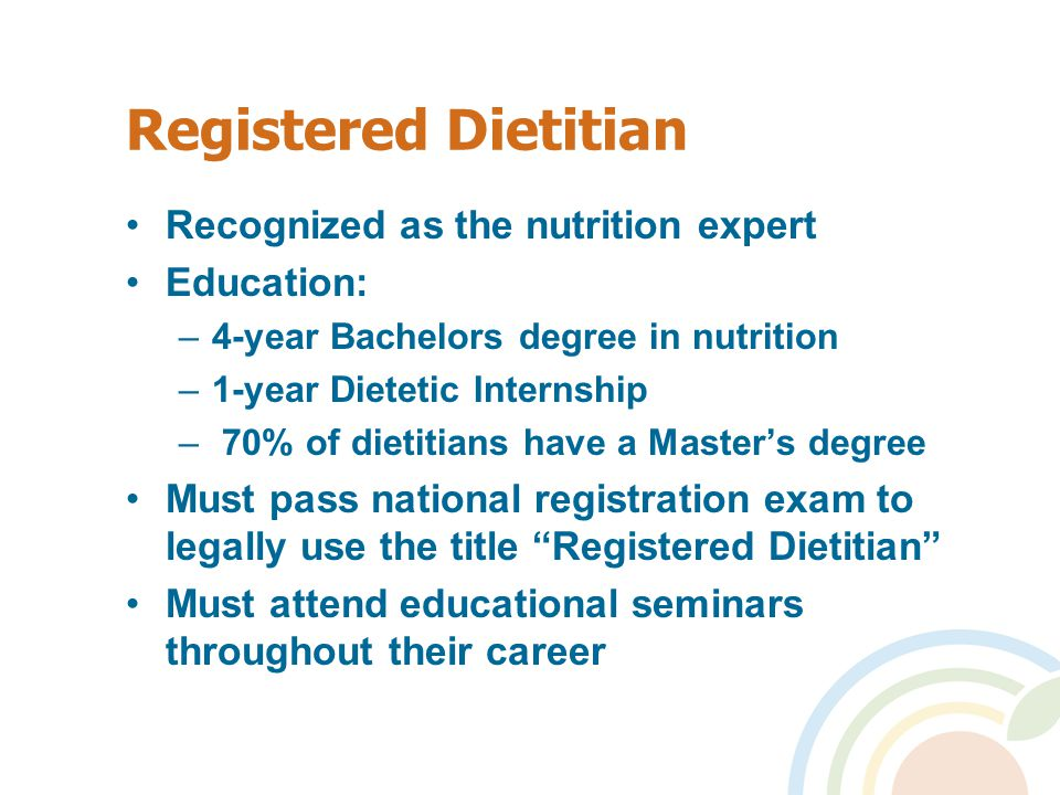 Registered Dietitian Recognized as the nutrition expert Education: –4-year Bachelors degree in nutrition –1-year Dietetic Internship – 70% of dietitia