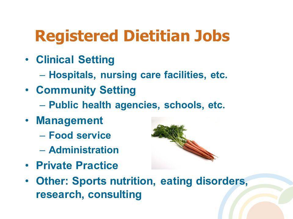Registered Dietitian Jobs Clinical Setting –Hospitals, nursing care facilities, etc.