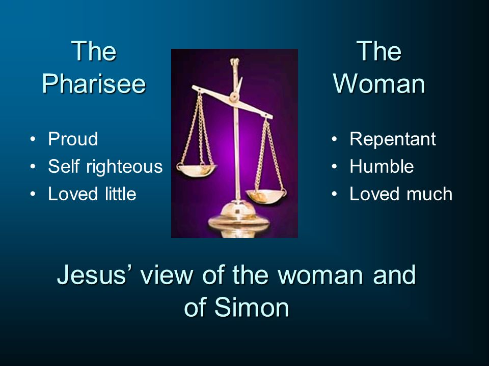 The Pharisee Proud Self righteous Loved little Repentant Humble Loved much The Woman Jesus' view of the woman and of Simon