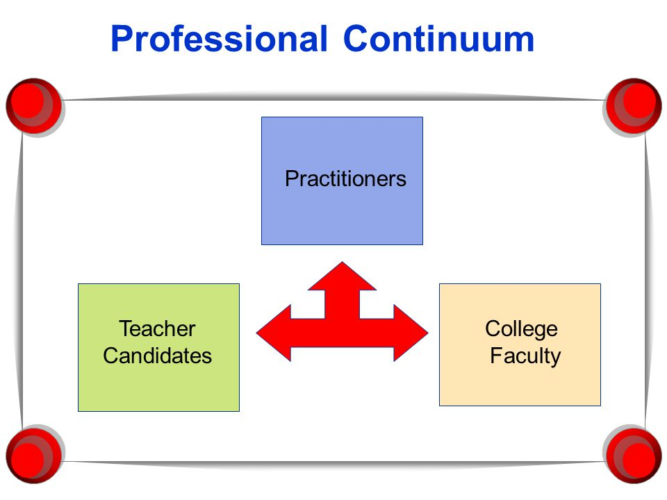 Professional Continuum Teacher Candidates Practitioners College Faculty
