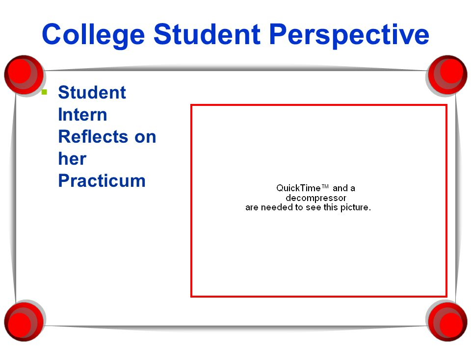 College Student Perspective  Student Intern Reflects on her Practicum