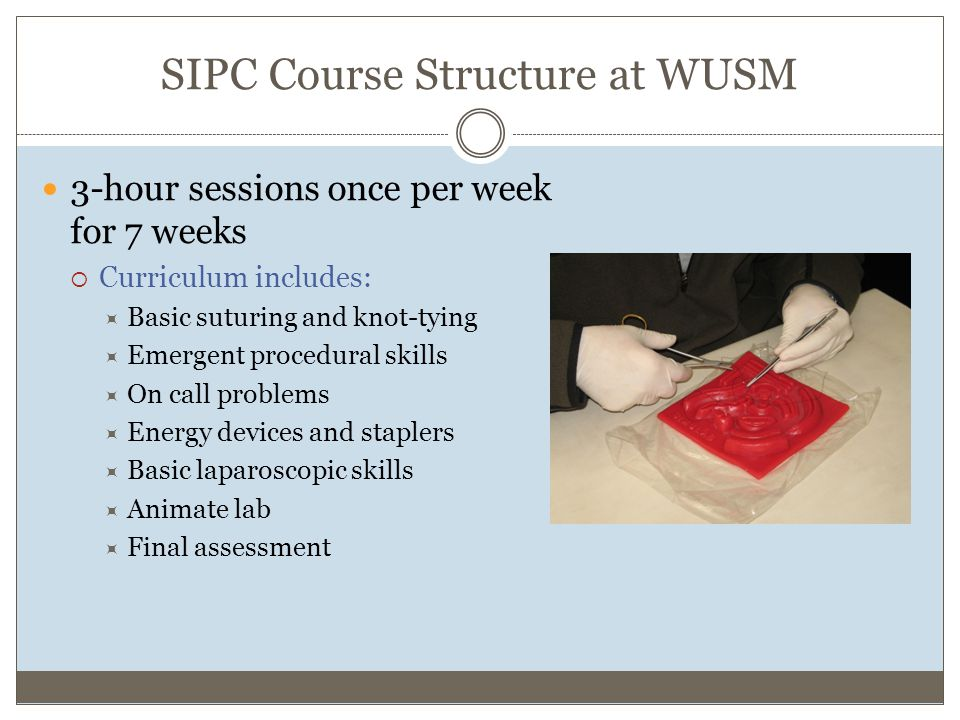 SIPC Course Structure at WUSM 3-hour sessions once per week for 7 weeks  Curriculum includes:  Basic suturing and knot-tying  Emergent procedural skills  On call problems  Energy devices and staplers  Basic laparoscopic skills  Animate lab  Final assessment