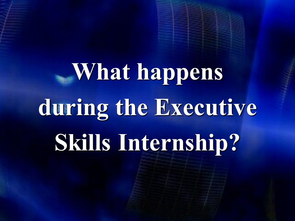 What happens during the Executive Skills Internship