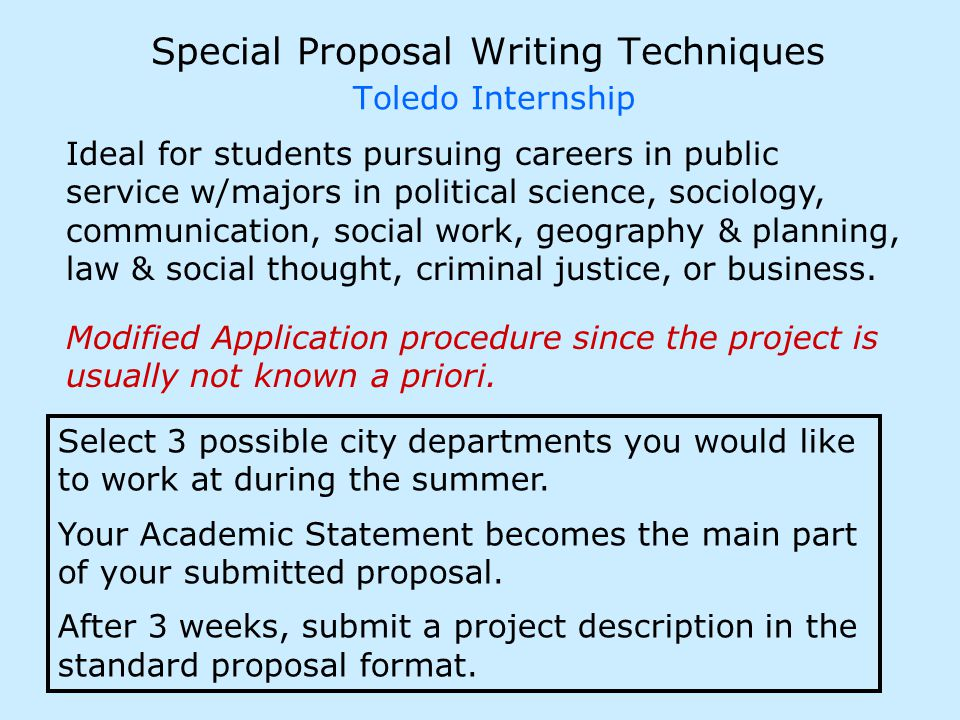 Special Proposal Writing Techniques Toledo Internship Modified Application procedure since the project is usually not known a priori.