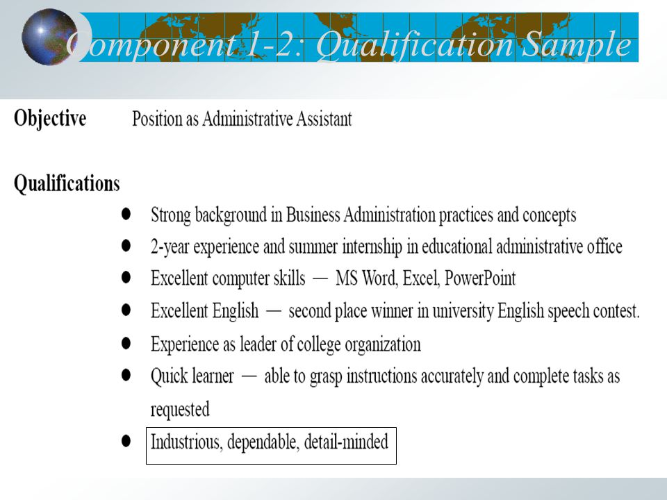 Component 1-2: Qualification Sample
