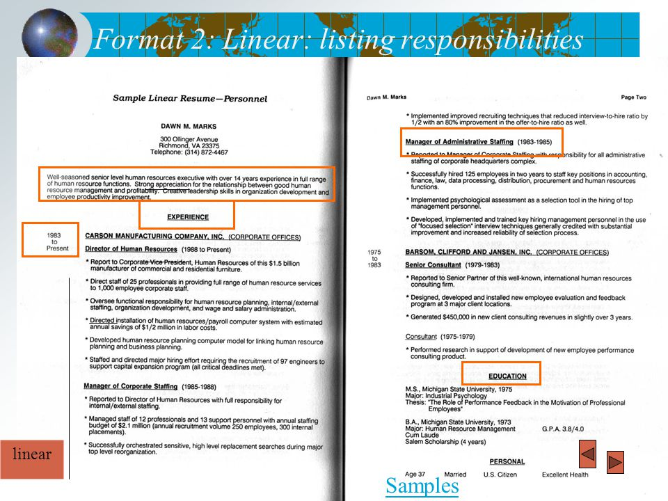 Format 2: Linear: listing responsibilities Samples linear