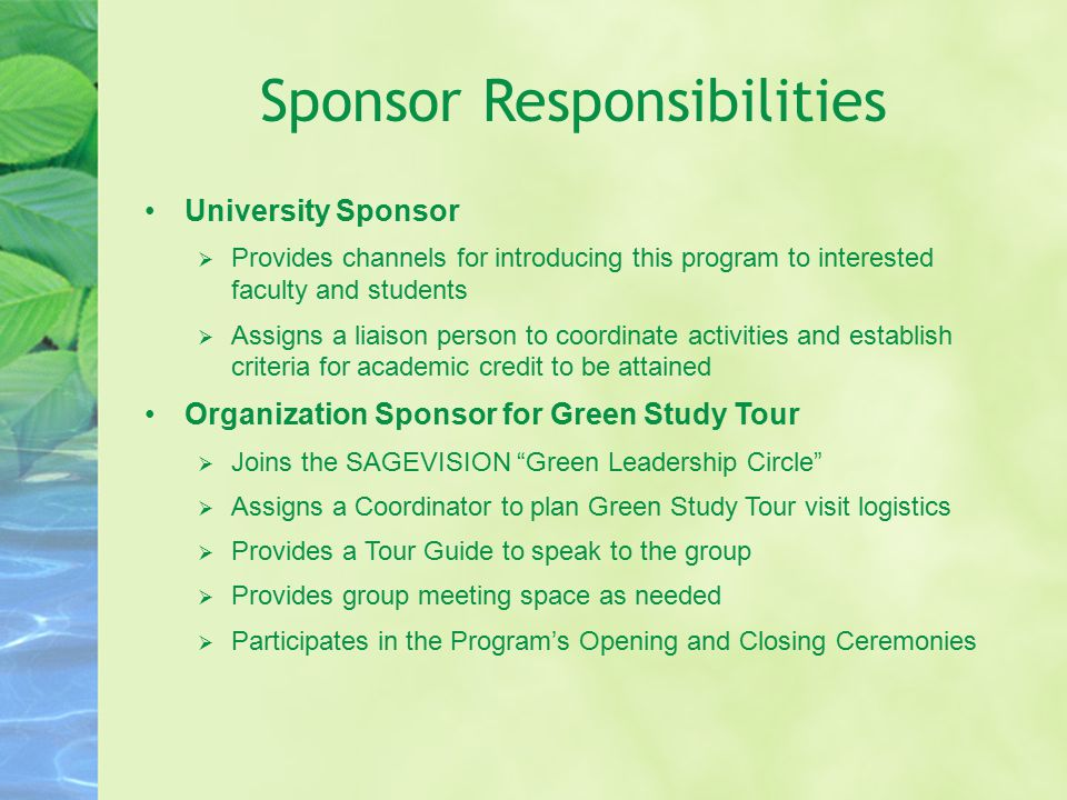 Sponsor Responsibilities University Sponsor  Provides channels for introducing this program to interested faculty and students  Assigns a liaison pe