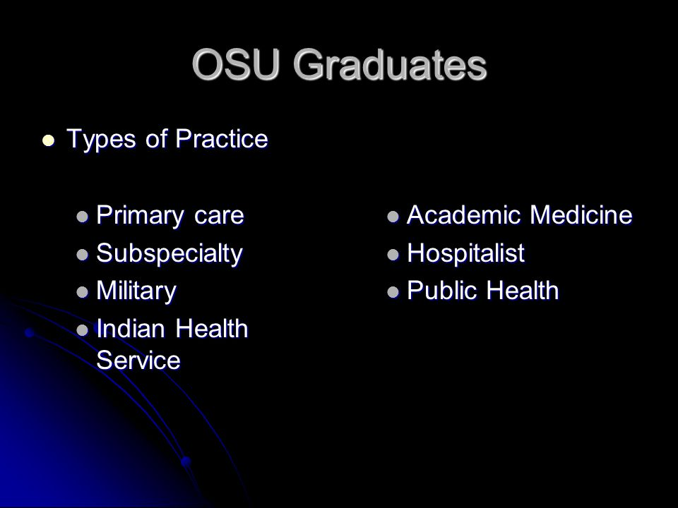 OSU Graduates Types of Practice Types of Practice Primary care Primary care Subspecialty Subspecialty Military Military Indian Health Service Indian H