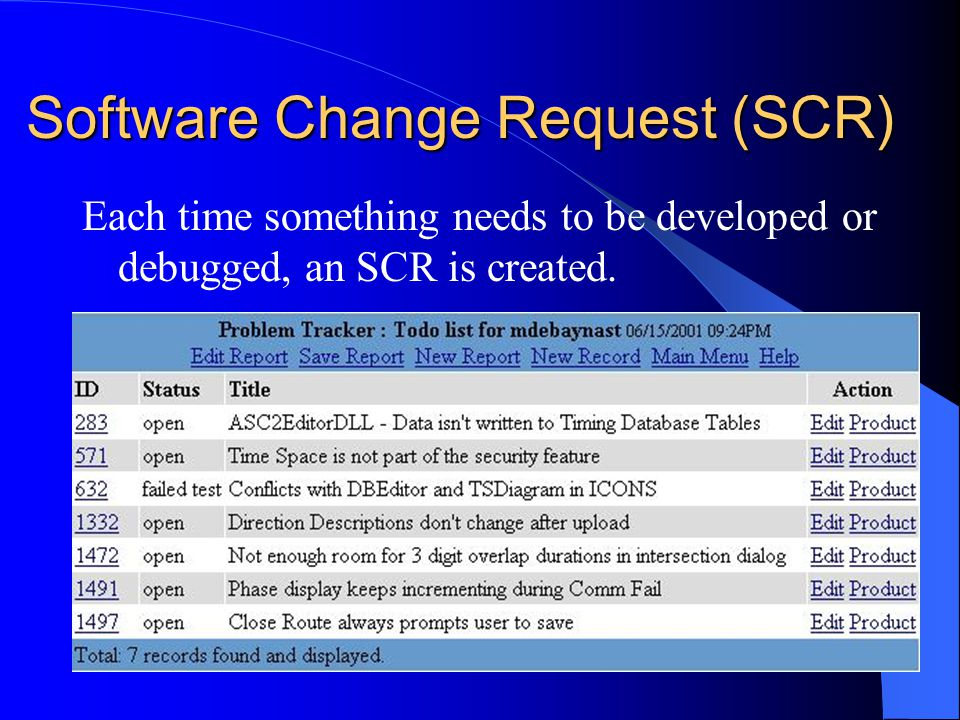 Software Change Request (SCR) Each time something needs to be developed or debugged, an SCR is created.