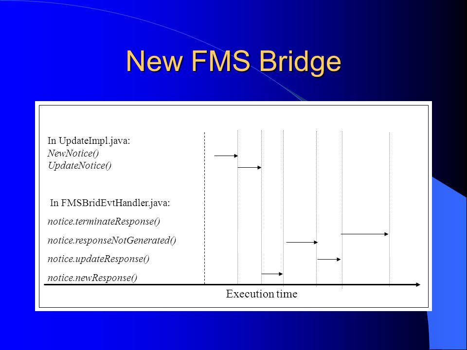 New FMS Bridge Execution time In UpdateImpl.java: NewNotice() UpdateNotice() In FMSBridEvtHandler.java: notice.terminateResponse() notice.responseNotGenerated() notice.updateResponse() notice.newResponse()