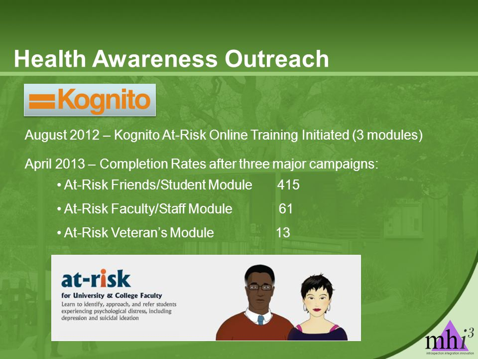 Health Awareness Outreach August 2012 – Kognito At-Risk Online Training Initiated (3 modules) April 2013 – Completion Rates after three major campaigns: At-Risk Friends/Student Module 415 At-Risk Faculty/Staff Module 61 At-Risk Veteran's Module 13