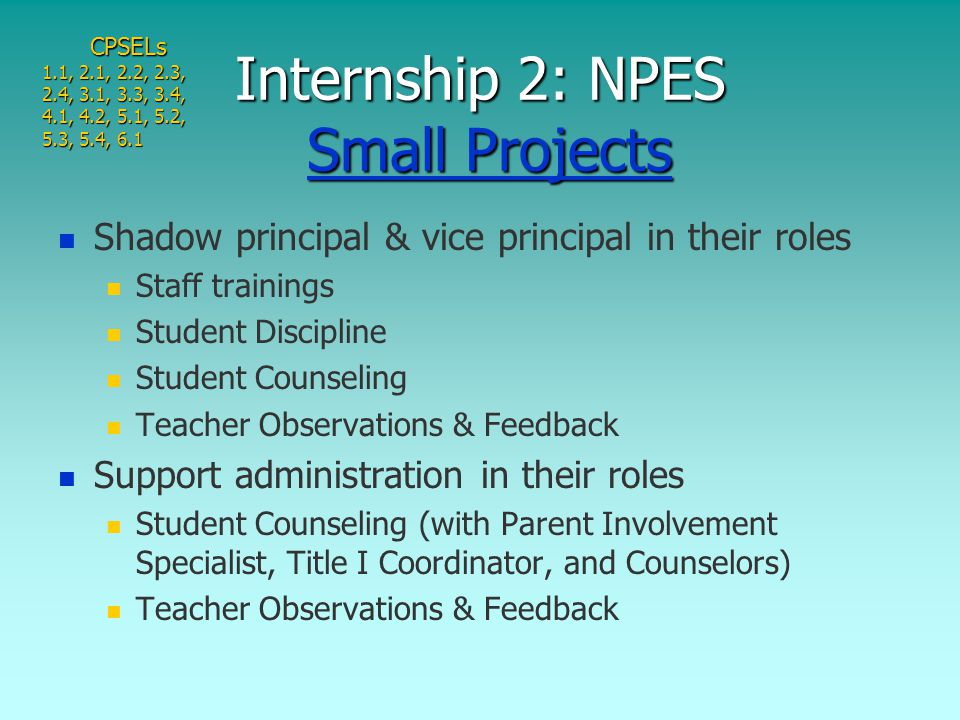Shadow principal & vice principal in their roles Staff trainings Student Discipline Student Counseling Teacher Observations & Feedback Support administration in their roles Student Counseling (with Parent Involvement Specialist, Title I Coordinator, and Counselors) Teacher Observations & Feedback Internship 2: NPES Small Projects Small ProjectsSmall ProjectsCPSELs 1.1, 2.1, 2.2, 2.3, 2.4, 3.1, 3.3, 3.4, 4.1, 4.2, 5.1, 5.2, 5.3, 5.4, 6.1