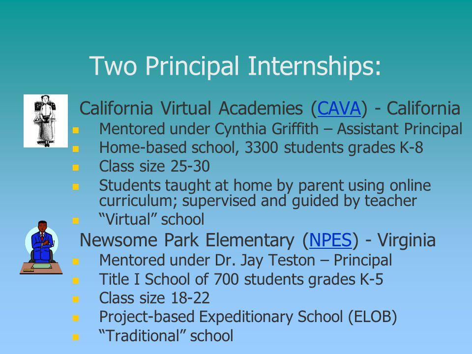 Two Principal Internships: 1. 1. California Virtual Academies (CAVA) - CaliforniaCAVA Mentored under Cynthia Griffith – Assistant Principal Home-based