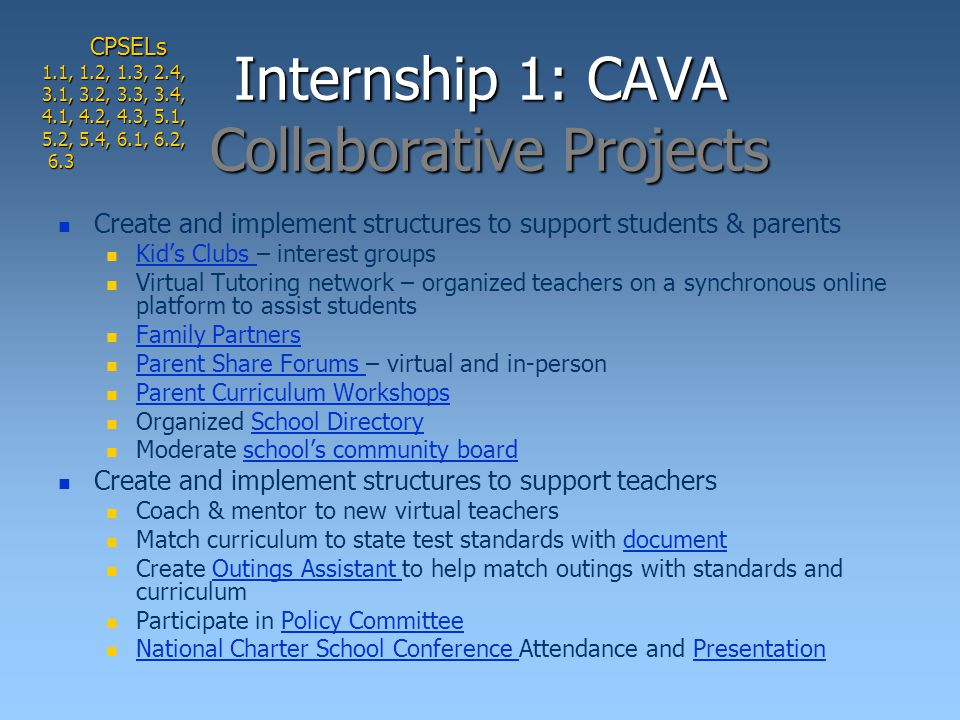 Internship 1: CAVA Collaborative Projects Create and implement structures to support students & parents Kid's Clubs – interest groups Kid's Clubs Virtual Tutoring network – organized teachers on a synchronous online platform to assist students Family Partners Parent Share Forums – virtual and in-person Parent Share Forums Parent Curriculum Workshops Organized School DirectorySchool Directory Moderate school's community boardschool's community board Create and implement structures to support teachers Coach & mentor to new virtual teachers Match curriculum to state test standards with documentdocument Create Outings Assistant to help match outings with standards and curriculumOutings Assistant Participate in Policy CommitteePolicy Committee National Charter School Conference Attendance and Presentation National Charter School Conference PresentationCPSELs 1.1, 1.2, 1.3, 2.4, 3.1, 3.2, 3.3, 3.4, 4.1, 4.2, 4.3, 5.1, 5.2, 5.4, 6.1, 6.2, 6.3 6.3