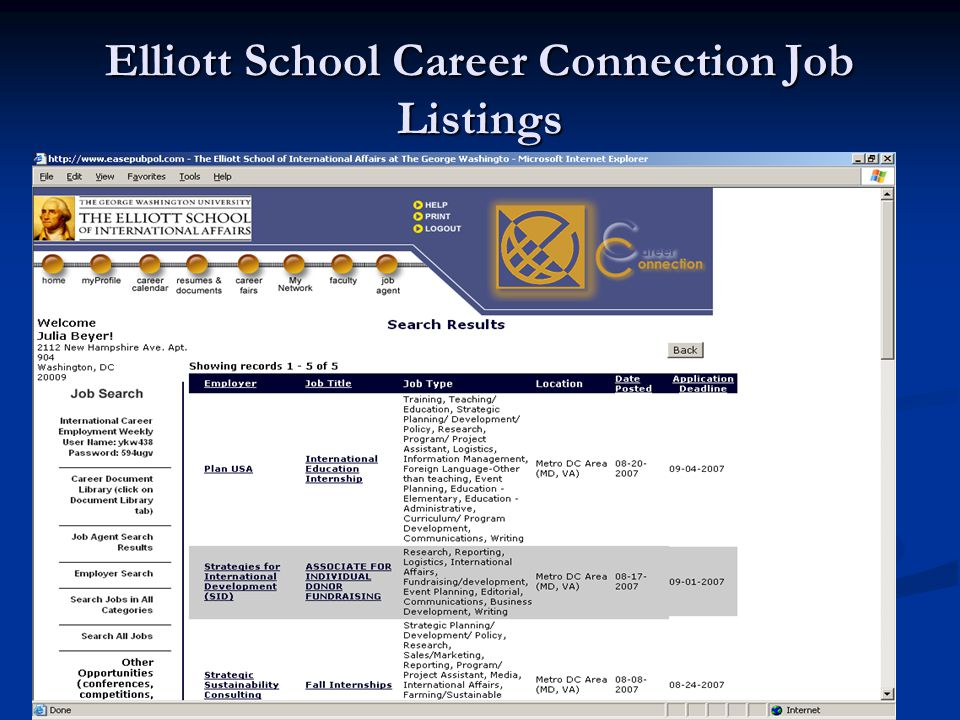 Elliott School Career Connection Job Listings