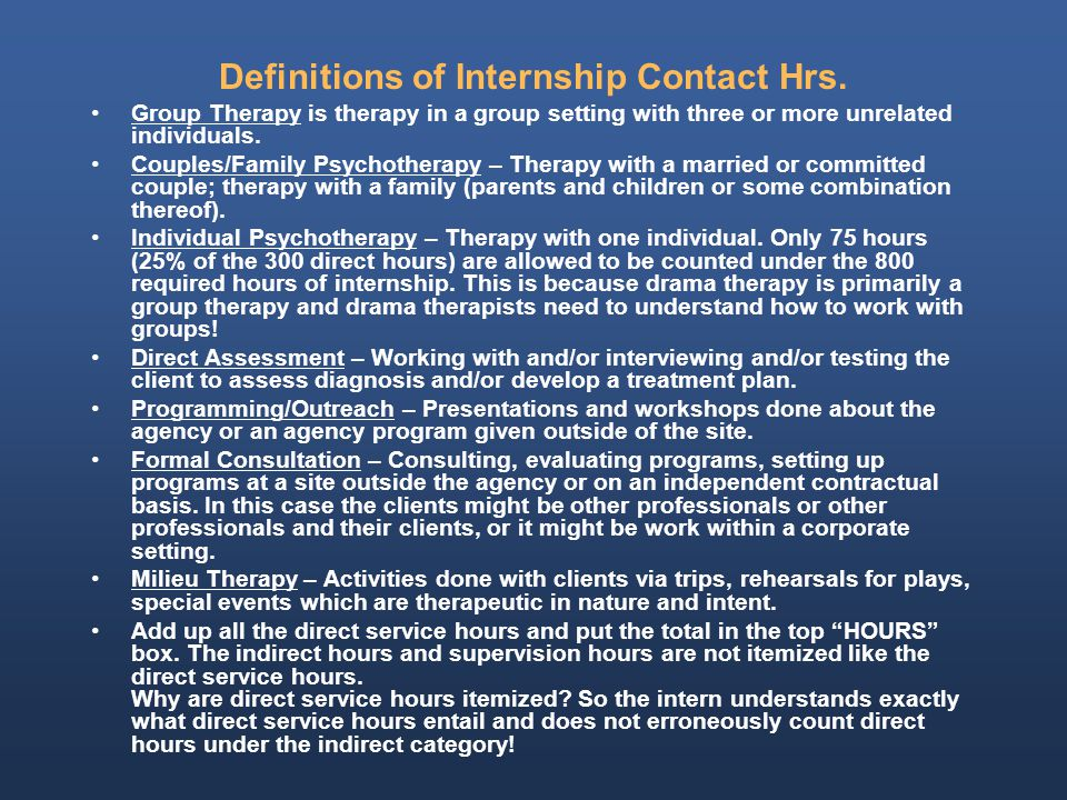Definitions of Internship Contact Hrs.