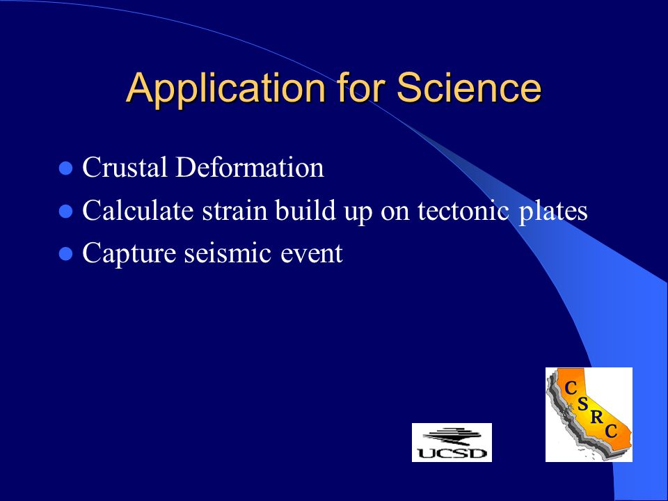 Application for Science Crustal Deformation Calculate strain build up on tectonic plates Capture seismic event