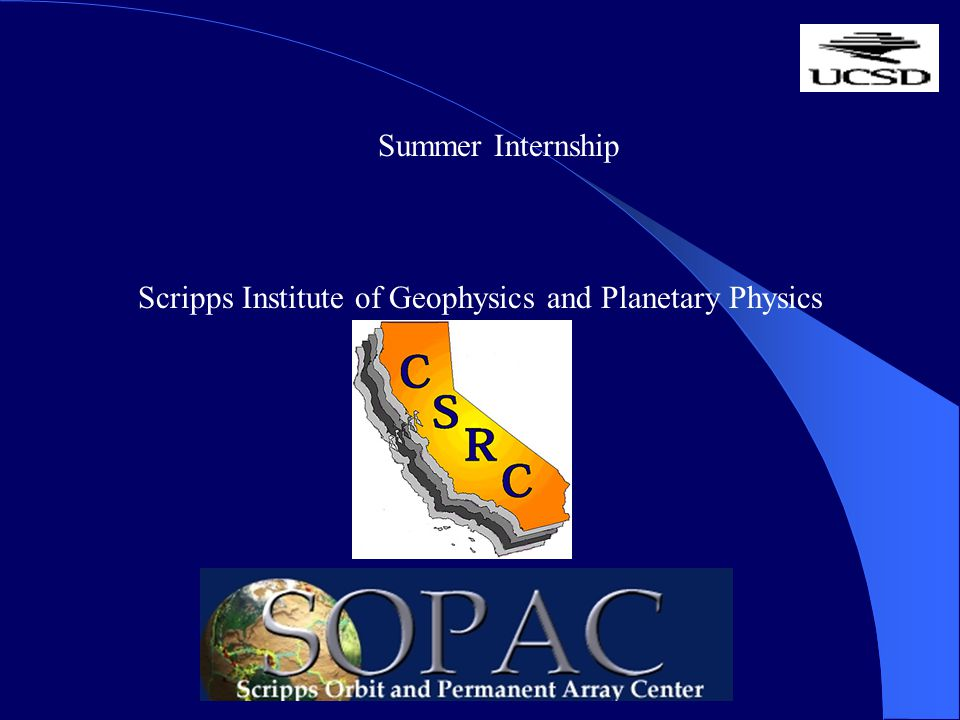 Summer Internship Scripps Institute of Geophysics and Planetary Physics