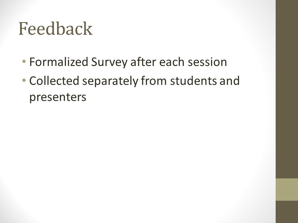 Feedback Formalized Survey after each session Collected separately from students and presenters