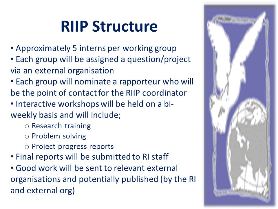 RIIP Structure Approximately 5 interns per working group Each group will be assigned a question/project via an external organisation Each group will nominate a rapporteur who will be the point of contact for the RIIP coordinator Interactive workshops will be held on a bi- weekly basis and will include; o Research training o Problem solving o Project progress reports Final reports will be submitted to RI staff Good work will be sent to relevant external organisations and potentially published (by the RI and external org)