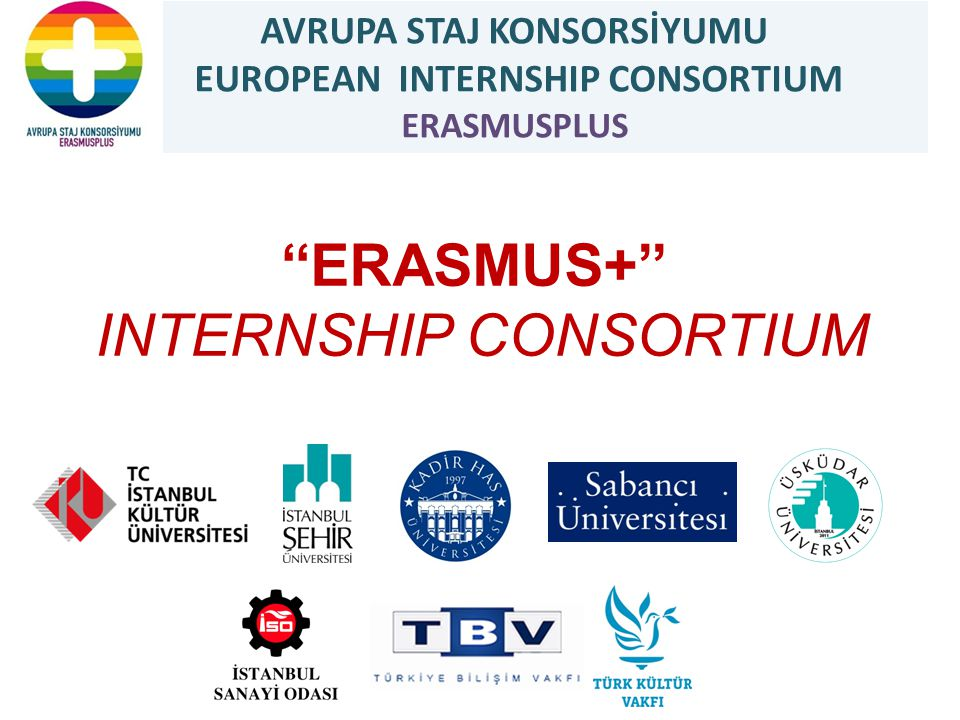 EUROPEAN INTERNSHIP CONSORTIUM ERASMUSPLUS Procedure of International Internship Student Applications Evaluation Students with a GPA of 2.2 / 4 for associate and undergraduate degree studies,and 2.5 / 4 for graduate studies Announcement of Results Average score of students: Weight of foreign language skills is 50% and the weight of GPA is 50%.