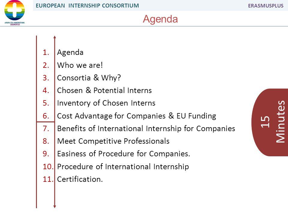EUROPEAN INTERNSHIP CONSORTIUM ERASMUSPLUS Agenda 1.Agenda 2.Who we are.