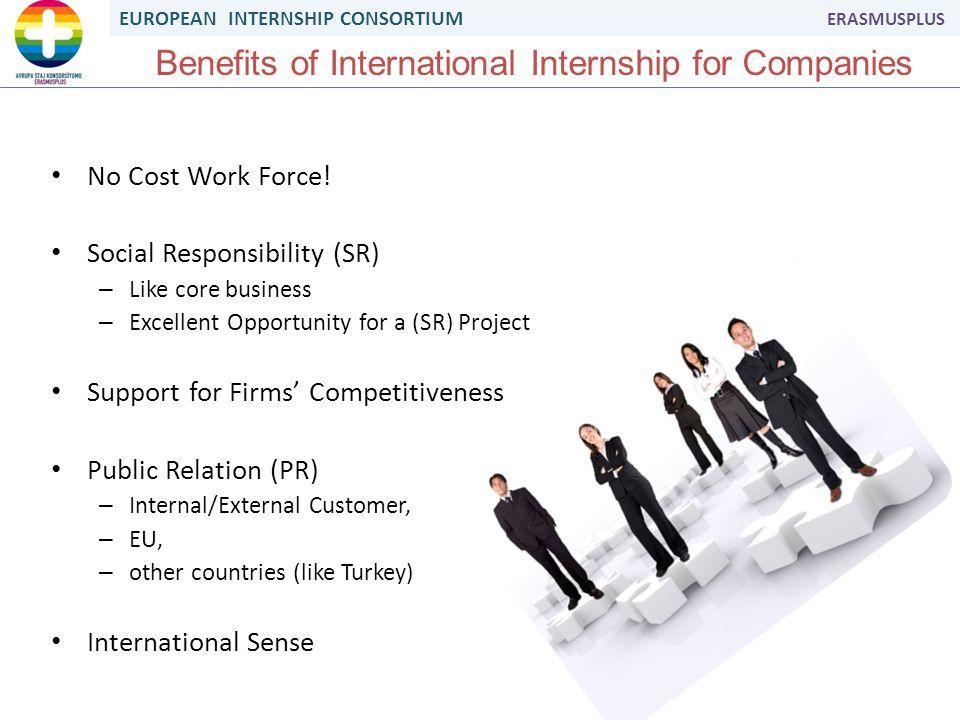 EUROPEAN INTERNSHIP CONSORTIUM ERASMUSPLUS Benefits of International Internship for Companies No Cost Work Force.