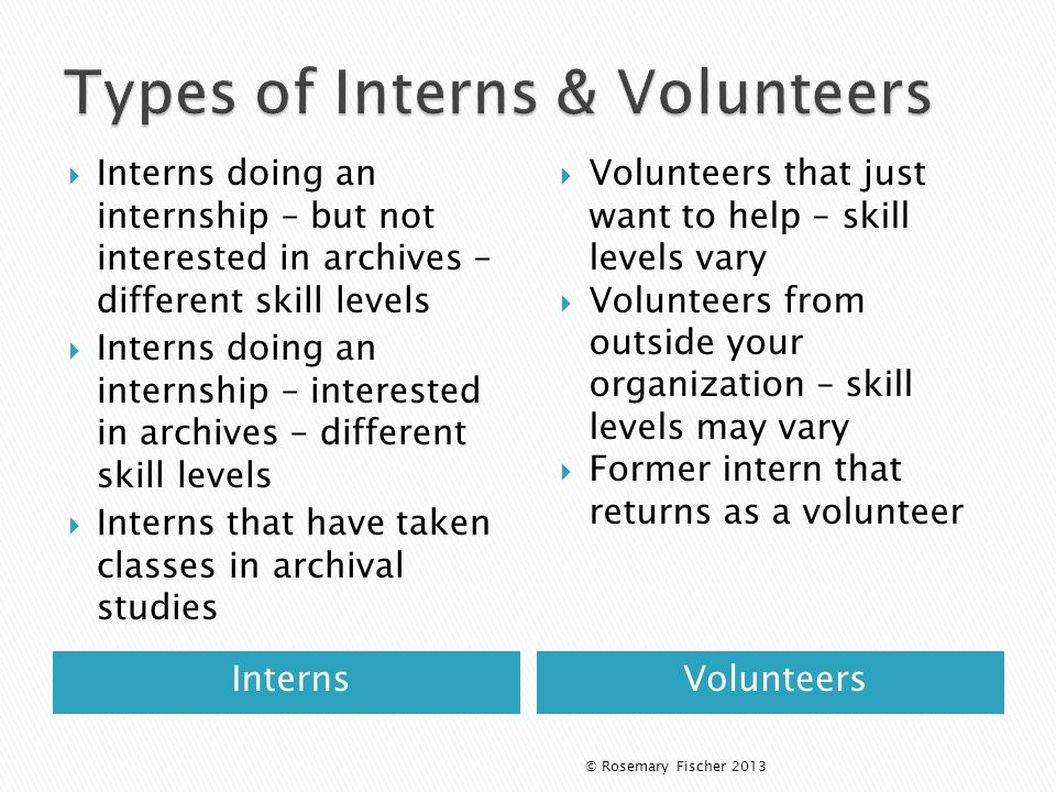 InternsVolunteers  Interns doing an internship – but not interested in archives – different skill levels  Interns doing an internship – interested in archives – different skill levels  Interns that have taken classes in archival studies  Volunteers that just want to help – skill levels vary  Volunteers from outside your organization – skill levels may vary  Former intern that returns as a volunteer © Rosemary Fischer 2013