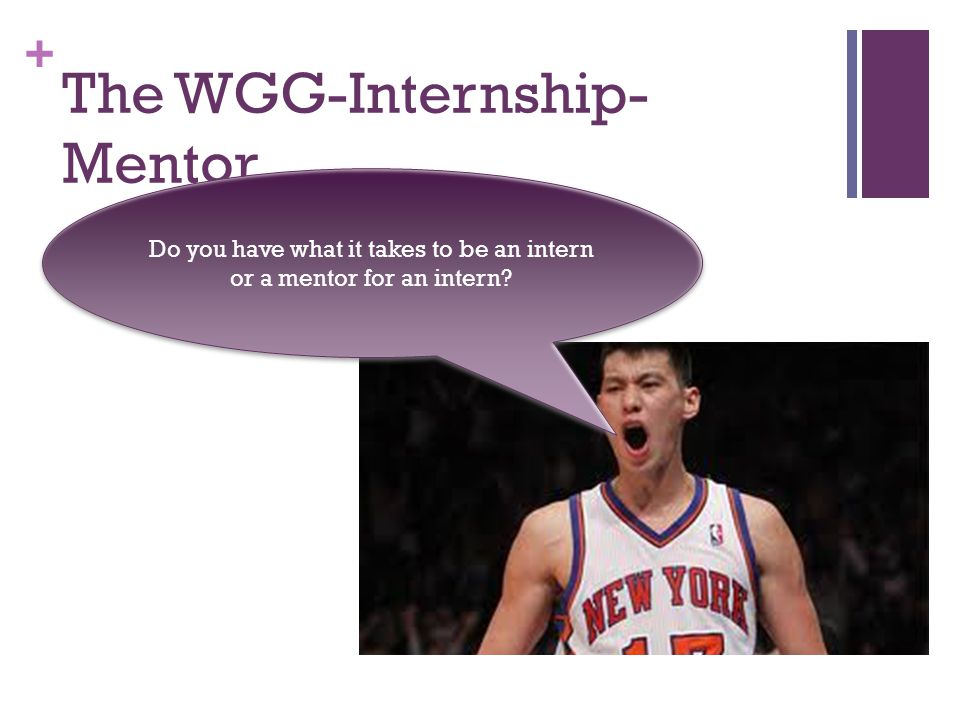 + The WGG-Internship- Mentor Do you have what it takes to be an intern or a mentor for an intern