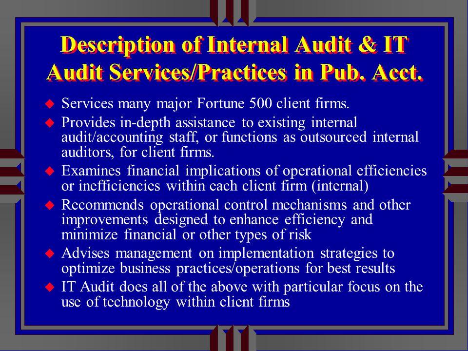 Description of Internal Audit & IT Audit Services/Practices in Pub.
