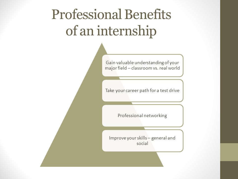 Professional Benefits of an internship Gain valuable understanding of your major field – classroom vs.
