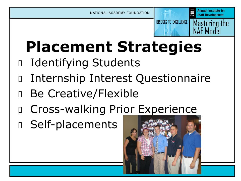  Identifying Students  Internship Interest Questionnaire  Be Creative/Flexible  Cross-walking Prior Experience  Self-placements Placement Strateg