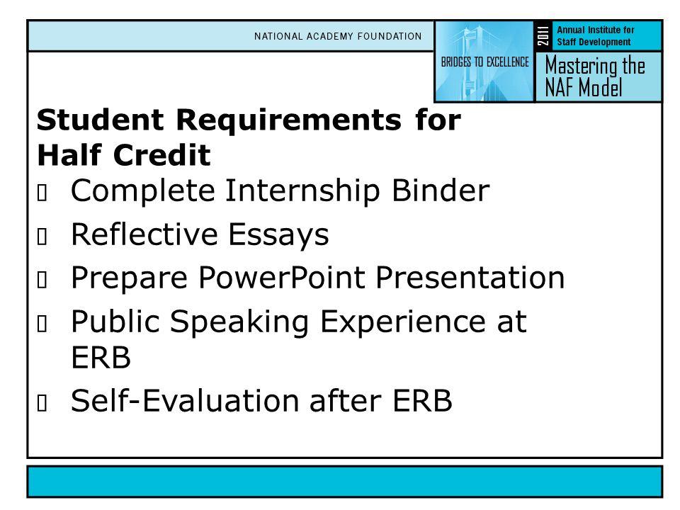 Student Requirements for Half Credit  Complete Internship Binder  Reflective Essays  Prepare PowerPoint Presentation  Public Speaking Experience a