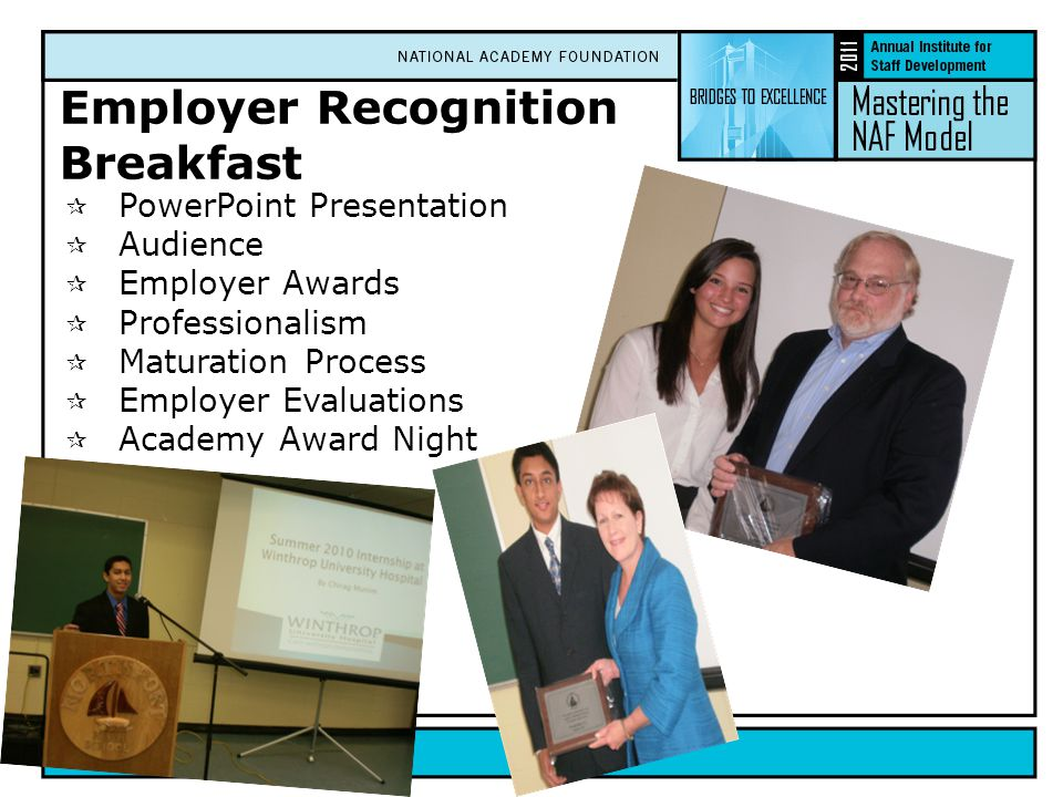 Employer Recognition Breakfast  PowerPoint Presentation  Audience  Employer Awards  Professionalism  Maturation Process  Employer Evaluations  Academy Award Night