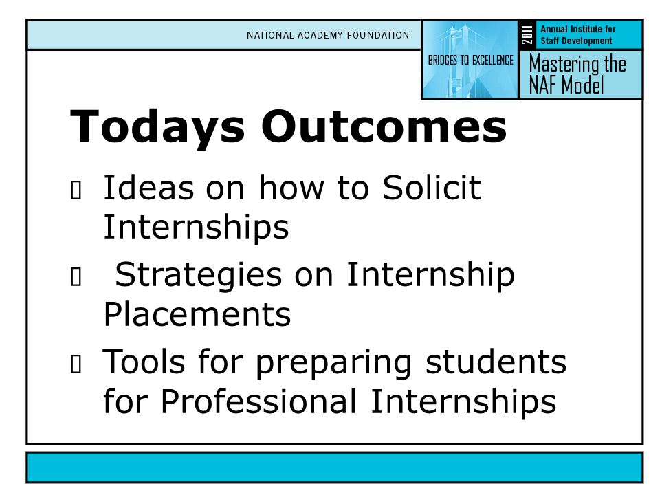 Todays Outcomes  Ideas on how to Solicit Internships  Strategies on Internship Placements  Tools for preparing students for Professional Internships