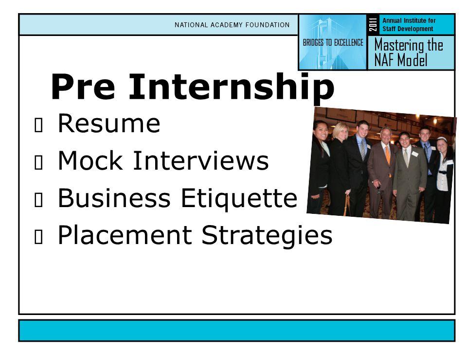 Pre Internship  Resume  Mock Interviews  Business Etiquette  Placement Strategies