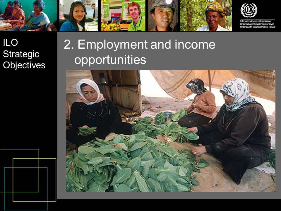 ILO Strategic Objectives 2. Employment and income opportunities