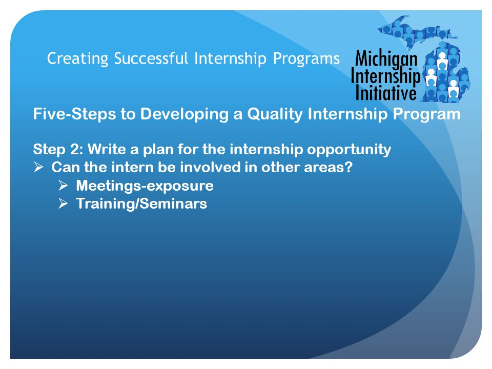 Creating Successful Internship Programs Five-Steps to Developing a Quality Internship Program Step 2: Write a plan for the internship opportunity  Ca