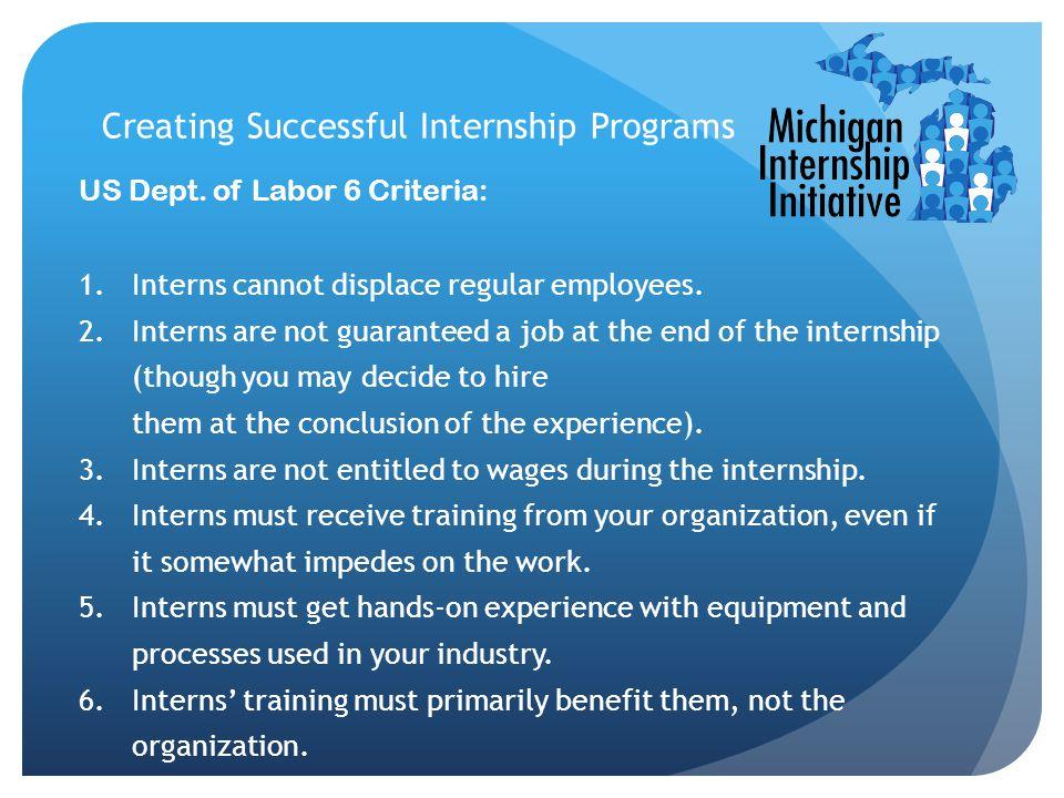 Creating Successful Internship Programs US Dept.