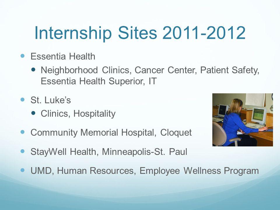 Internship Sites 2011-2012 Trillium Services YMCA of Duluth Private psychiatric practice Carlton-Cook-Lake-St.