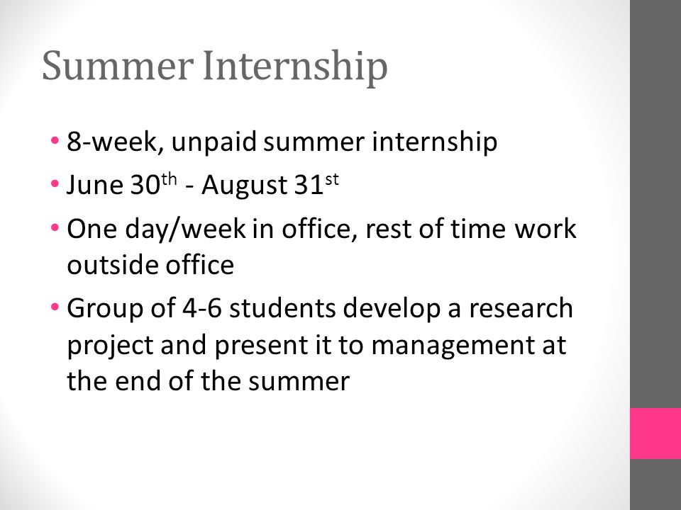 How to apply To qualify for the internship, students must be rising juniors or seniors with a U.S.