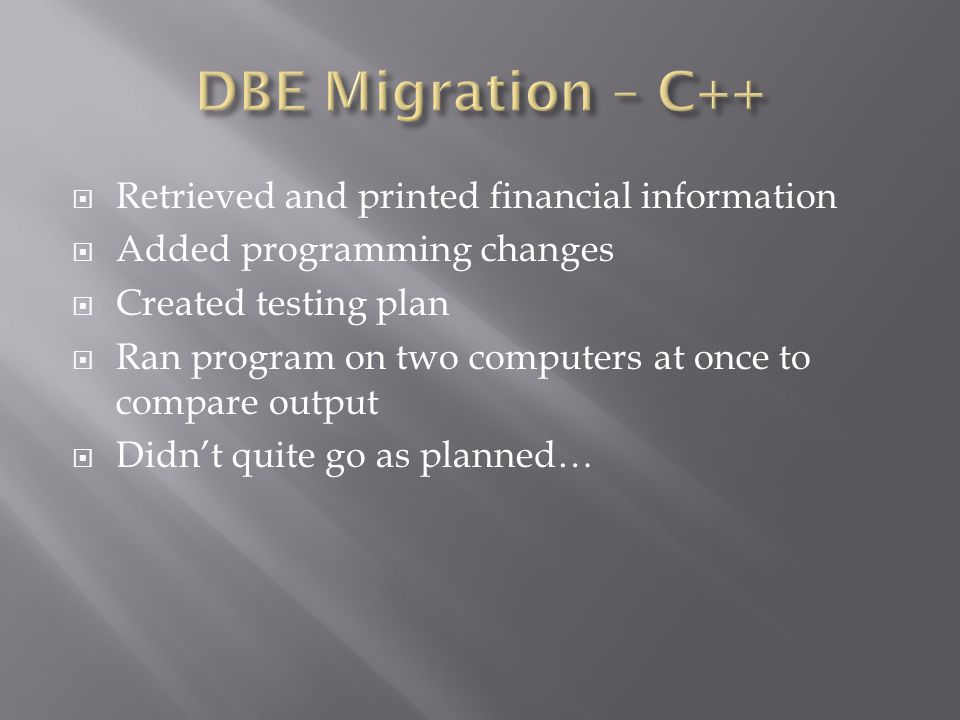  Retrieved and printed financial information  Added programming changes  Created testing plan  Ran program on two computers at once to compare out