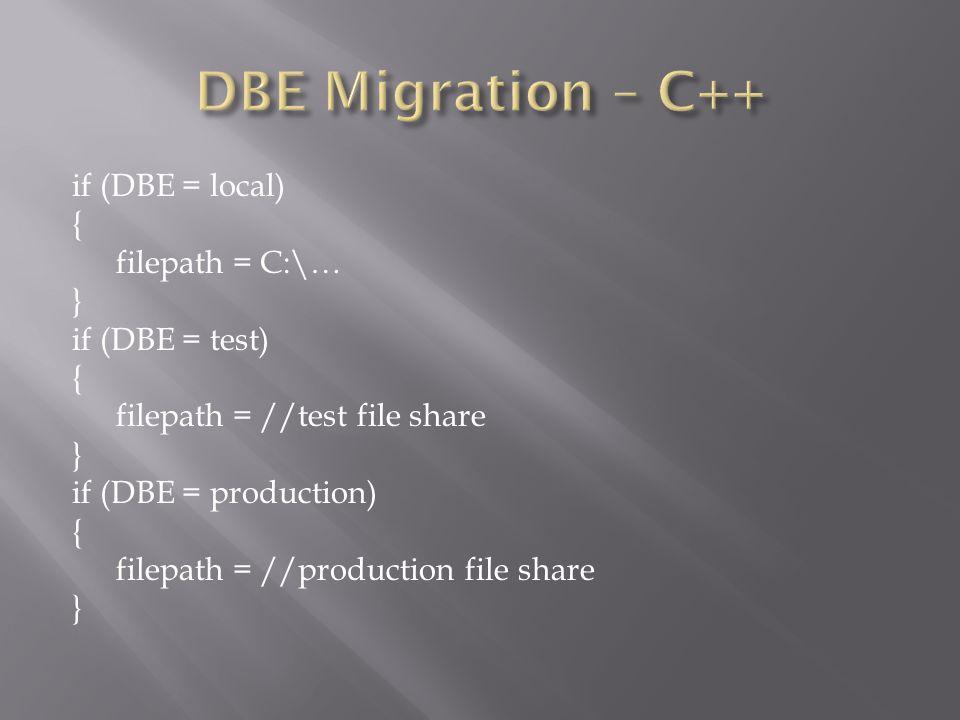 if (DBE = local) { filepath = C:\… } if (DBE = test) { filepath = //test file share } if (DBE = production) { filepath = //production file share }