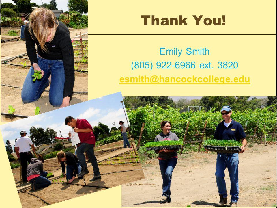 Thank You! Emily Smith (805) 922-6966 ext. 3820 esmith@hancockcollege.edu
