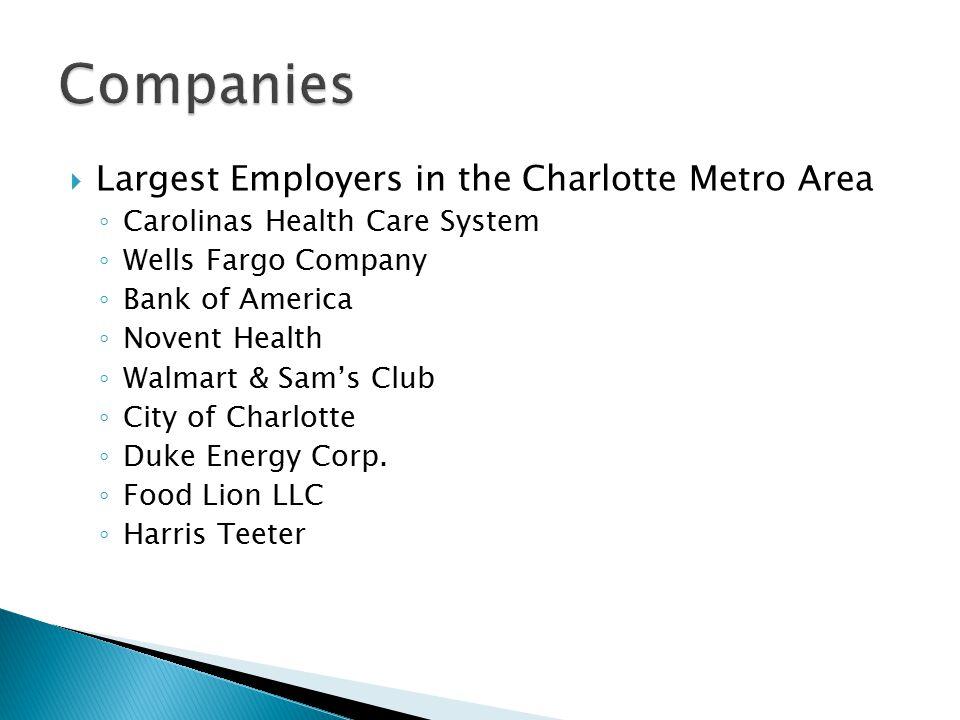  Largest Employers in the Charlotte Metro Area ◦ Carolinas Health Care System ◦ Wells Fargo Company ◦ Bank of America ◦ Novent Health ◦ Walmart & Sam's Club ◦ City of Charlotte ◦ Duke Energy Corp.