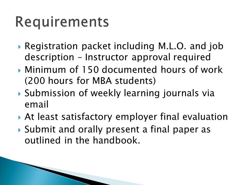  Registration packet including M.L.O.